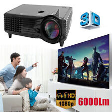 6000 Lumens Full HD 1080P LED LCD 3D VGA HDMI Home Office Theater Projector