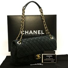 c92 Authentic CHANEL 2012 or 2013 Swede Chain Shoulder Bag Black Quilted Flap