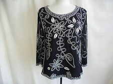 "Ladies top Lauren Michelle L black & ivory embroidery bust 38"" length 24"" 0176"