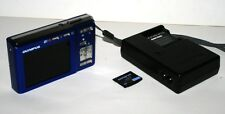 Olympus FE-360 Blue 8.0MP 3X Optical Zoom Digital Camera Bundle Battery Charger