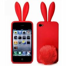 Red Bunny Rabbit Rubber Skin Case Ear & Tail Fur for Apple iPhone 4S 4 4G NEW