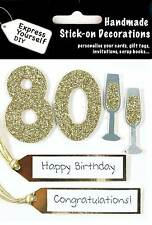 Gold 80th Birthday DIY Greeting Card Toppers Personalise Handmade Cards Yourself