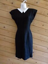 PATRICK KELLY Paris Dress Vintage 1980's Black Cream Deep V-neck Sheath Dress XS