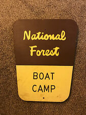 Wooden National Forest Sign Boat Camp AUTHENTIC National Park Service Wood USFS
