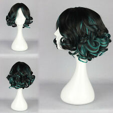 Black Green Wig Short Curly Wavy Harajuku Lolita Hair Cosplay Costume Anime Wigs