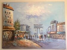 "Street of Paris Oil Painting on Canvas Huge 48""x36"" Signed by the Artist Burnett"