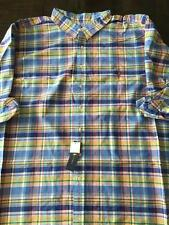 New Polo Ralph Lauren Big and Tall Oxford Dress Shirt 3XB 3XL 3X Plaid Blue