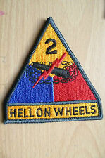 PATCHES- US ARMY 2ND ARMORED DIVISION HELL ON WHEELS COLOR PATCH (NEW,apx.10x9.5