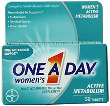 3 Pack One-A-Day Womens Active Metabolism Complete Multivitamin Tablets 50 Each