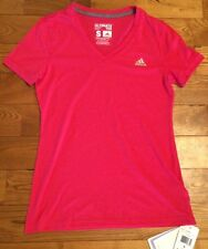 NWT Womens ADIDAS Performance Climalite Hot Pink S/S V Neck Tee Size Small S