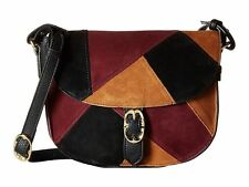 NEW Emma Fox Designer Filmore Patchwork Burgundy Leather Suede Shoulder Bag