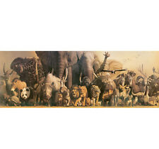 "WILD ANIMAL PANORAMIC POSTER #406421 ~ 36""W x 13"" H ~ LAMINATED Safari, Ltd."