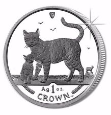 2002 Isle of Man Bengal Cat Coin 1 oz Silver Proof with Box & Coa
