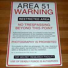 "Rare - Area 51 Warning Sign Poster - NEW 24 ""x 36"" - Alien"