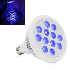 36W PAR38 Blue LED Grow Light Bulb 12x3W for Aquarium and Plant Growth 400-520nm