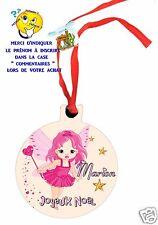 décoration de noël en MDF à suspendre avec ruban personnalisé avec prénom réf 10