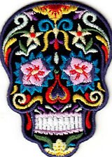 CANDY SKULL-MULTI-COLORED ON BLACK-DIA DE LOS MUERTES-IRON ON EMBROIDERED PATCH