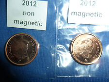 2012 Canadian Penny 1 Magnetic & 1 non magnetic from RCM(LAST YEAR)863