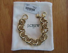 "NWT J Crew Women's 7 1/4"" Gold Chain Link Bracelet Antique Gold #54878"