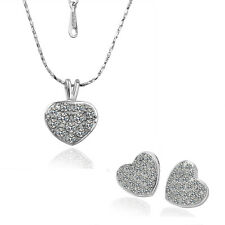 18 k White Gold Plated Crystal Hearts Stud Earrings Necklace Jewellery Set F16S