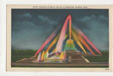 Scott Fountain At Belle Isle by Illumination Detroit USA Vintage Postcard 488a