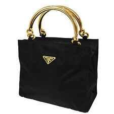 100% Authentic PRADA Logos Hand Tote Bag Black Nylon Vintage Italy GHW B31047