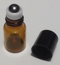 2mL Roll On Amber Glass Bottle w/Stainless Ball (144) for Essential Oils Perfume
