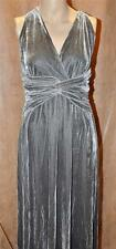 NEW Boston Proper S Twist Front Stretch Velvet Long Maxi Dress Gray Steel Small
