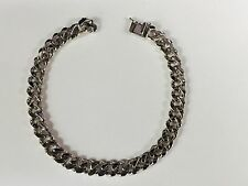 "14k Solid White Gold Handmade Link Men's Bracelet 7.5 MM 8"" 31 grams"