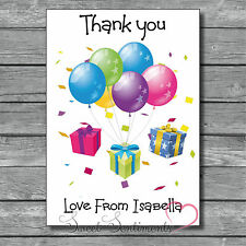 Personalised Balloons Birthday Party Kids Thank You Card / Notes x12