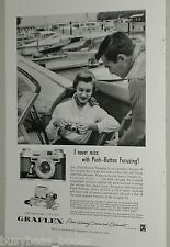 1957 Graflex ad, Graphic 35 camera, Morgan & motorboats
