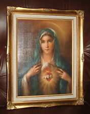 IMMACULATE HEART OF MARY Wood FRAMED Print 17 by 20 inch   NEW MOTHER of JESUS