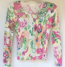 Designer LOUISE FD Multicoloured Sequin Pattern Silk Fine Knit Jumper Top Size S