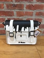 DR MARTENS 11'' BLACK / WHITE SMOOTH LEATHER SATCHEL