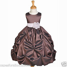 BROWN TAFFETA WEDDING PAGEANT PARTY FLOWER GIRL DRESS 6M 9M 12M 18M 2 4 5 6 8 10