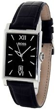 BOSS BY HUGO BOSS BLACK FACE RECTANGULAR SILVER STAINLESS STEEL LEATHER WATCH