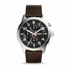 FOSSIL MEN WATCH FS5139 Daily Chronograph Black Luminous Easy to Read Leather