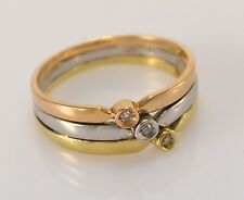 Ring 585er Gold mit Brillant 3 in 1 Tricolor Triple Weißgold Gelbgold Rotgold