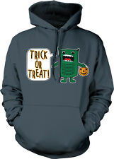 Green Monster Trick Or Treat Halloween Pumpkin Pail Candy Scary Hoodie Pullover