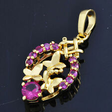 New design 2015 Fashion Pendant Butterfly Leaf shape Ruby jewelry M0784