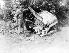 WW2 Photo WWII US Army Jeep Blown in Half  / 3061