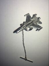 Sukhoi Su-35 C61 Aircraft Fighter English Pewter Emblem Tie Pin With Chain