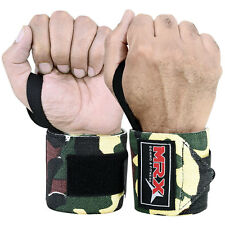 WEIGHT LIFTING TRAINING WRIST SUPPORT WRAPS GYM BANDAGE STRAPS CAMO GREEN 18""