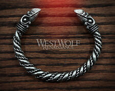 Silver Viking Odin's Raven Head Bracelet --- Norse/Medieval/Pewter/Jewelry/Torc