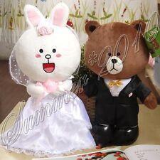 "12"" Japan Line Friends Brown Bear Cony Stuffed Plush Doll Fluffy Wedding Toy 2pc"