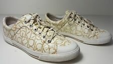 $89 sz 11 Calvin Klein Giselle Iconogram White Signature Sneakers Lace Up Shoes