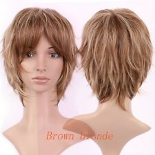 Short Pixie Hair Wig Natural Straight Women Cosplay Party Daily Wig Brown Blonde