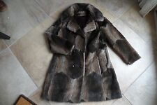 Vintage ALEUTIAN Brown Double Breasted Faux Fur 3/4 Length Jacket Coat 16