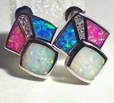 INLAY TRI-COLOR FIRE OPAL AND CZ SILVER STUD EARRINGS