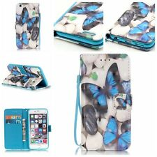 Colorful Printed PU Leather Wallet Flip Case Cover With Strap For Smart phones
